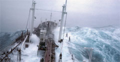 Rogue waves crashing on ship