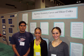 Undergraduates Eric Summerville, Bárbara Rivera and Jessica Zúñiga in front of their poster presentation